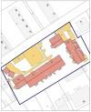 Beispiel Lageplan Erhebungsbogen, Darstellung Grundstück mit Versiegelungskartierung (D = Dachflächen, B = befestigte Flächen)